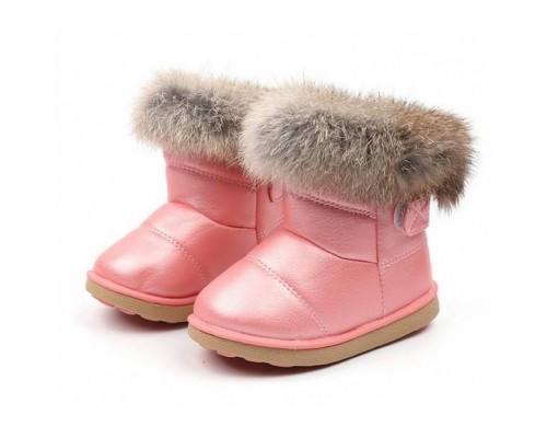 Чобітки дитячі зимові з опушкою рожеві