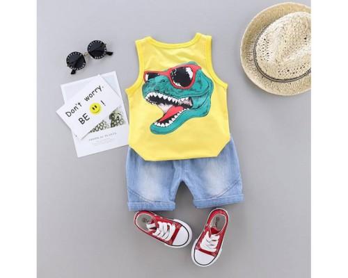 Костюм літній для хлопчика жовтиий Dino 4183