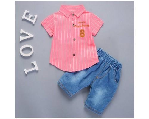 Костюмчик літній для хлопчиків рожевий 7917
