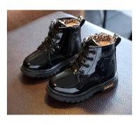 Лаковані черевики з хутром Dinimigi чорні