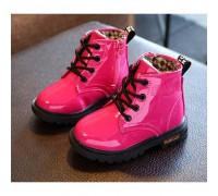 Лаковані черевики з хутром Dinimigi малинові