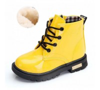 Лаковані черевики з хутром Dinimigi жовті