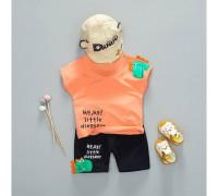 Літній костюм хлопчикові оранж Dinosaur 3327