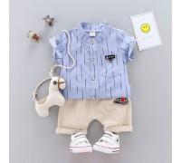 Літній костюм хлопчикові смуги синій 3227