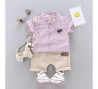 Літній костюм хлопчикові велика клітинка рожевий 3229