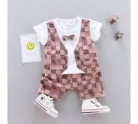 Літній нарядний костюм для хлопчика рожевий 3293