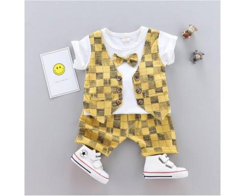 Літній нарядний костюм для хлопчика жовтий 3292