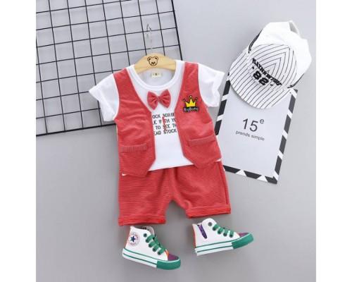 Літній нарядний костюм хлопчикові червоний 3323