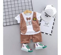 Літній нарядний костюм хлопчикові коричневий 3324