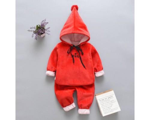 Теплий костюм червоний 3521