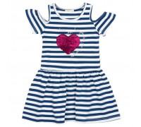 Плаття Breeze з серцем перевертишем (12385-128G-blue)