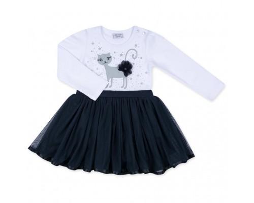 Плаття Breeze з котиком та зірочкою (8099-86G-white)