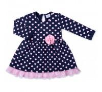 Плаття Breeze в рожеві сердечка з оборкою (8659-98G-blue)