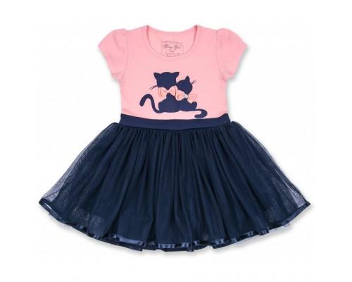 Плаття Breeze з котиками і фатіновою спідницею (8876-86G-peach-blue)