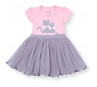 Плаття Breeze з котиками і фатіновою спідницею (8876-98G-pink-gray)