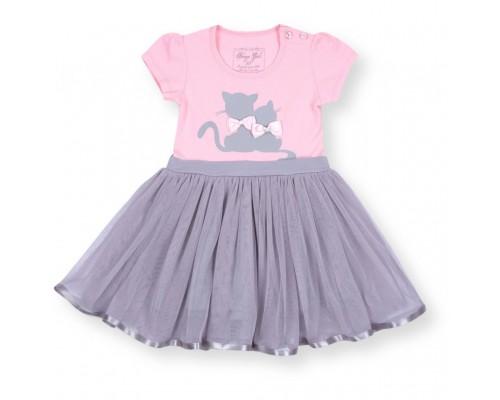 Плаття Breeze з котиками і фатіновою спідницею (8876-104G-pink-gray)