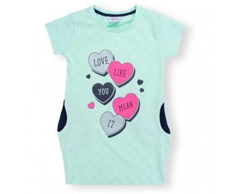 Плаття Breeze з серцем і кишенями (8694-134G-mint)