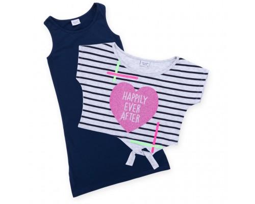 Плаття Breeze з серцем в комплекті з топом (9051-134G-blue-gray)