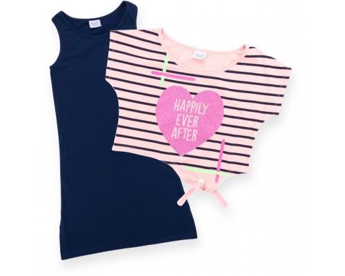 Плаття Breeze з серцем в комплекті з топом (9051-140G-blue-peach)