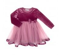 Плаття Breeze оксамитове з бантом (8948-92G-pink)