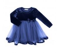 Плаття Breeze оксамитове з бантом (8948-86G-blue)