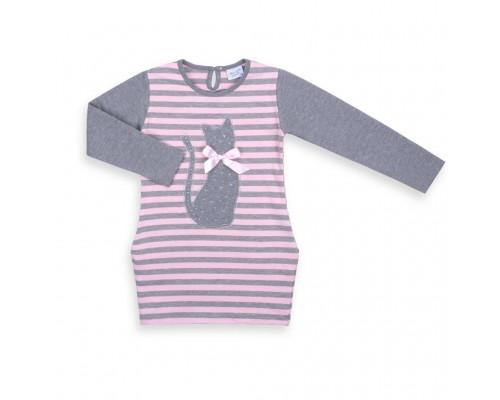 Плаття Breeze в смужку з котиком (8185-116G-pink)