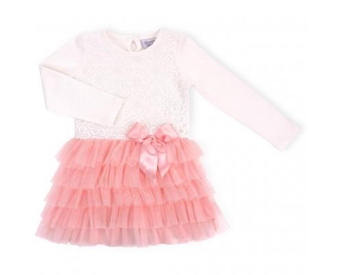 Плаття Breeze з багатошаровою фатіновою спідницею і бантом (8670-110G-peach)