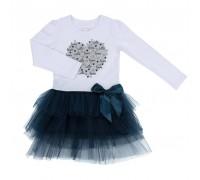 Плаття Breeze з фатіновою спідницею і серцем (10531-128G-whiteblue)
