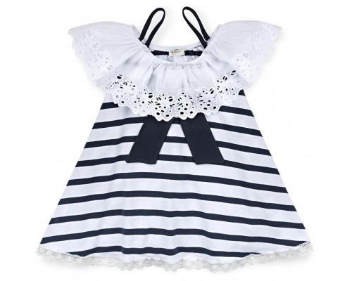 Плаття Breeze з мереживною оборкою і бантом (11050-128G-white)
