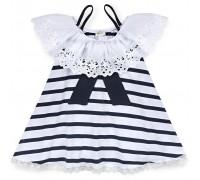 Плаття Breeze з мереживною оборкою і бантом (11050-134G-white)