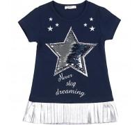 Плаття Breeze со звездой и оборкой (10281-134G-blue)