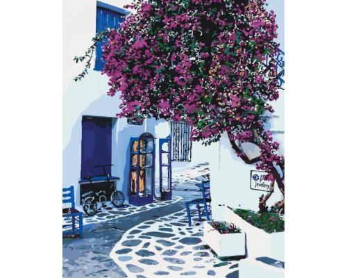"""Картина. Міський пейзаж """"Сонячна Греція"""" 40*50см * KHO2168"""