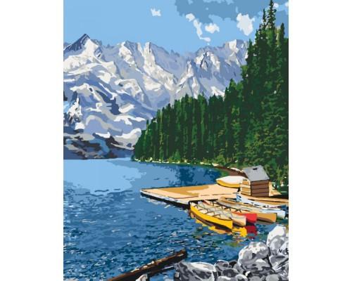 """Картина. Сільський пейзаж """"Гірське озеро"""" 40*50см KHO2223"""