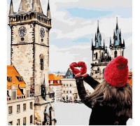 """Картина. Міський пейзаж """"З любов'ю в серці"""" 40*40см * KHO3523"""
