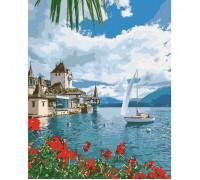 """Картина. Морський пейзаж """"Ранок в Швейцарії"""" 40*50см KHO2734"""