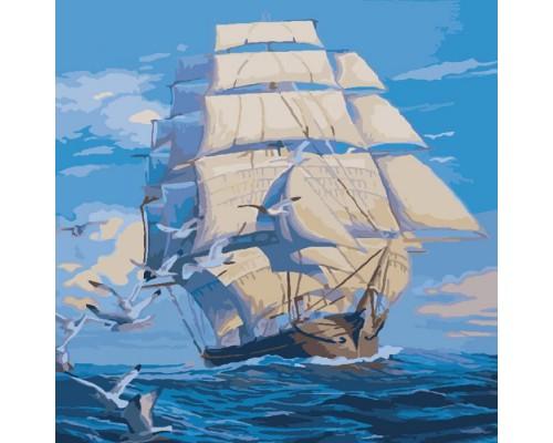 """Морський пейзаж """"На всіх вітрилах"""" 40*40 KHO2708"""