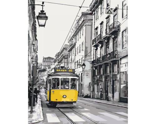 """Картина. Міський пейзаж """"Жовтий трамвайчик"""" 40*50см * KHO2187"""