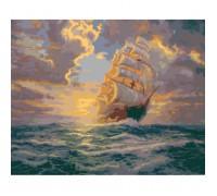 """Картина. Морський пейзаж """"Світанок під вітрилами 40х50см KHO2715"""
