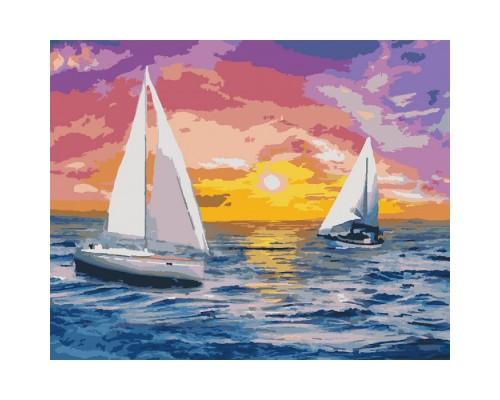 """Картина. Морський пейзаж """"Зустрічаючи світанок"""" 40х50см KHO2731"""