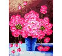 """Картина. Brushme """"Рожеві квіти у синій вазі"""" GX9162"""