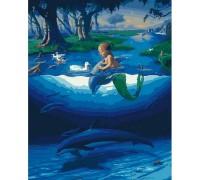 """Картина. Rainbow Art """"Маленький русал з дельфінами"""" GX28270-RA"""