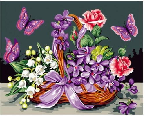 """Картина. Brushme """"Метелики біля кошику з квітами"""" GX24093"""