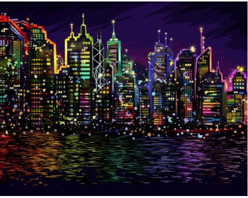 """Картина. """"Нічне місто"""" 40 * 40см KpNe-02-01"""
