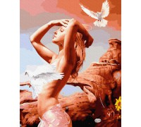 "Картина. Brushme ""Дівчина з голубами"" GX35047"