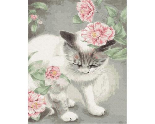 """Картина. Brushme """"Кішка у квітах"""" GX35652"""