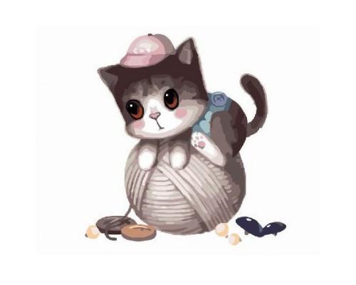 """Картина. Brushme """"Маленький котик з клубком"""" GX8400"""