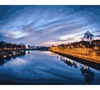 """Картина Brushme """"Вид на нічну ріку"""" GX23841"""