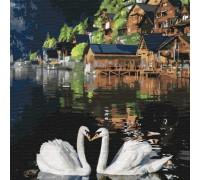 """Картина. """"Чарівні лебеді"""" 30 * 30см KHO4199"""
