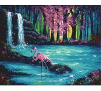 """Картина. Rainbow Art """"Фламінго біля водоспаду"""" GX30193-RA"""