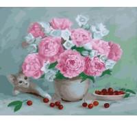 """Картина. Rainbow Art """"Квіти, вишні і кошеня"""" GX23647-RA"""